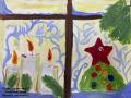 Новогоднее окно - Замятина Инна (бумага, акварель)