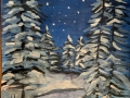 Новогодняя ночь - Ельзова Анастасия (бумага, гуашь)