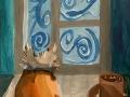 У зимнего окна - Орлова Софья (бумага, гуашь)