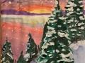 Заснеженный закат - Белянкова Анна (бумага, гуашь)