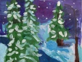 Зимний лес - Чернова Полина (бумага, гуашь)