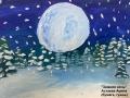 Зимняя ночь - Астаева Арина (бумага, гуашь)